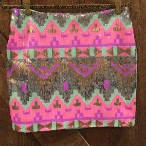 Sequin Mini Skirt w/ Mint Back - Medium